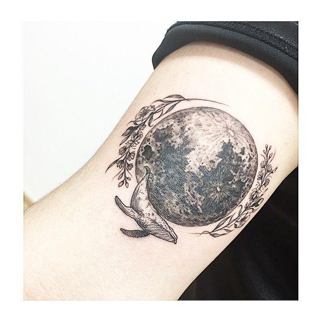 : moon +flower +whale ++ #tattooistbanul globe hyperrealism tattoo for men women girly for traveler and nature lover
