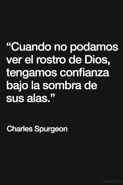 """""""Cuando no podamos ver el rostro de Dios, tengamos confianza bajo la sombra de sus alas."""" - Charles Spurgeon."""