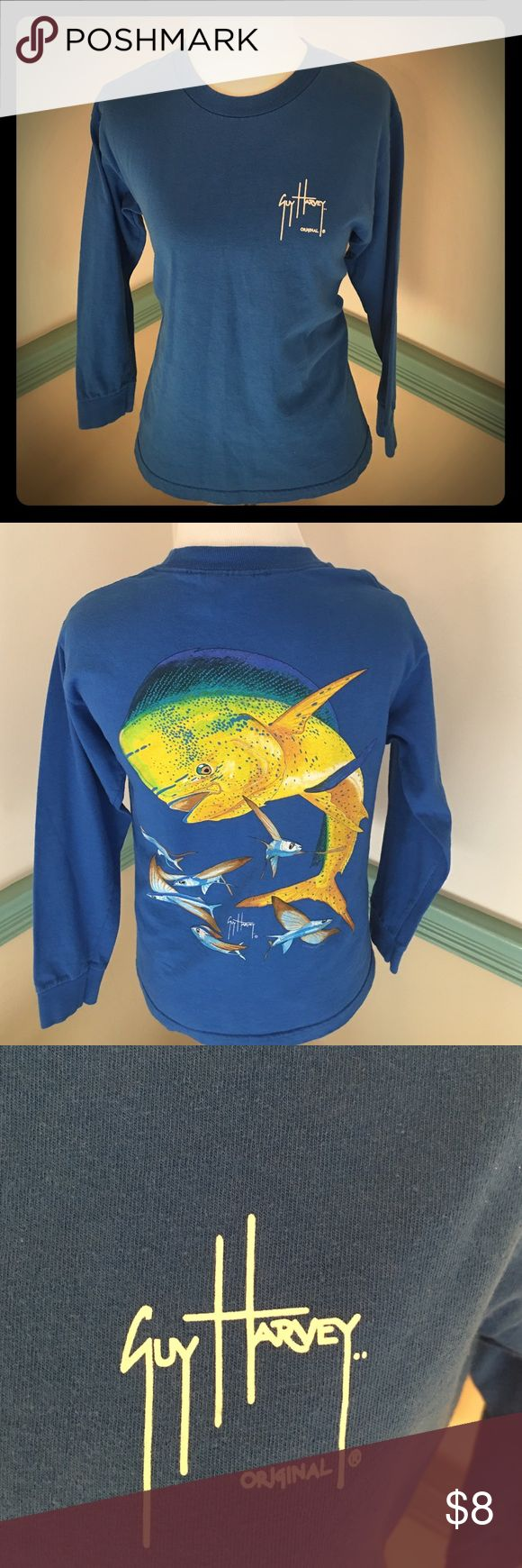 GUY HARVEY LONG SLEEVE SHIRT. YOUTH MEDIUM. Blue with fish on back. Lightly used no holes or stains perfect for boy or girl. YOUTH SIZE MEDIUM. GUY HARVEY Shirts & Tops Tees - Long Sleeve