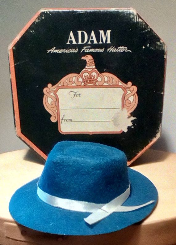 Vintage miniature hat and hat box 0fe0fdf947b