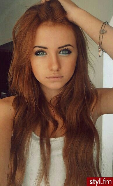 LOVE THIS HAIR COLOR . Ginger / Red . Green Eyes . Great Makeup .