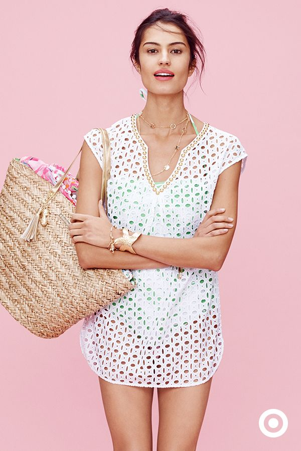 Eyelet is everywhere this season. The beach or pool deck doesn't have to be an exception, so snag this Lilly Pulitzer for Target coverup (and straw tote) and stay chic in the sun. The collection launches April 19.