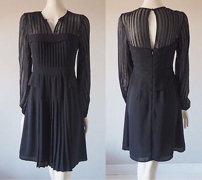 BCBG-Max-Azria-039-Joni-039-Black-Pleated-Sheer-Long-Sleeve-Dress-Striped-Yoke-Silk-6