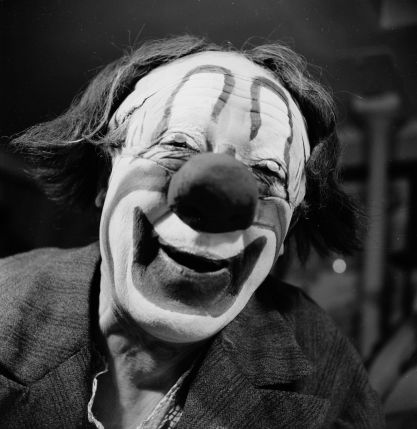 Cirque, clown, albert fratellini, noir et blanc