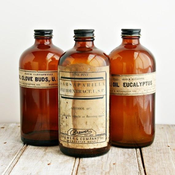 Vintage bottles with old labels.