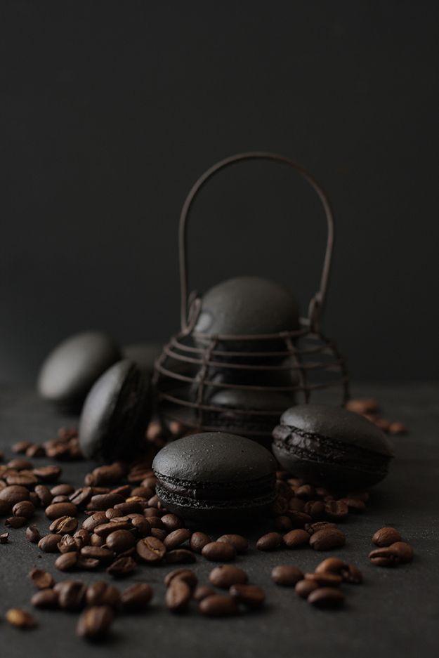BLACK COFFEE MACARONS (almond meal, powder sugar, cream, chocolate)