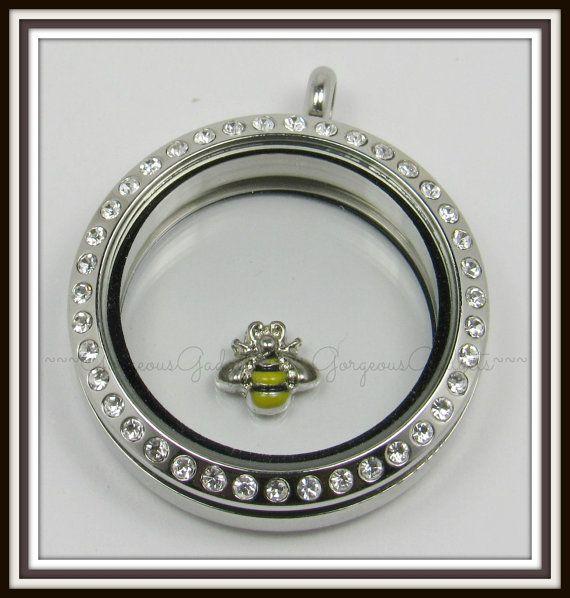 Bumble Bee flotante encanto de medallón de por GorgeousGadgets