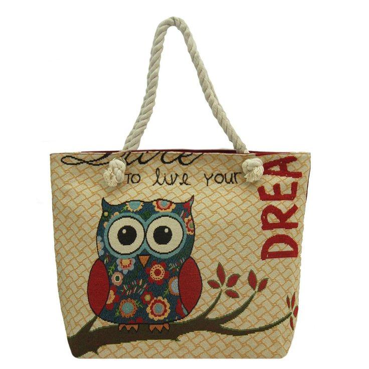 Alfa Traditional Tapestry Owl Dream Zippe Tote Bag, Women's
