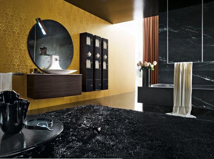 top modern bathrooms creative designblack gold bathroom design with dark vanity round bathroom - Black Luxury Modern Bathroom