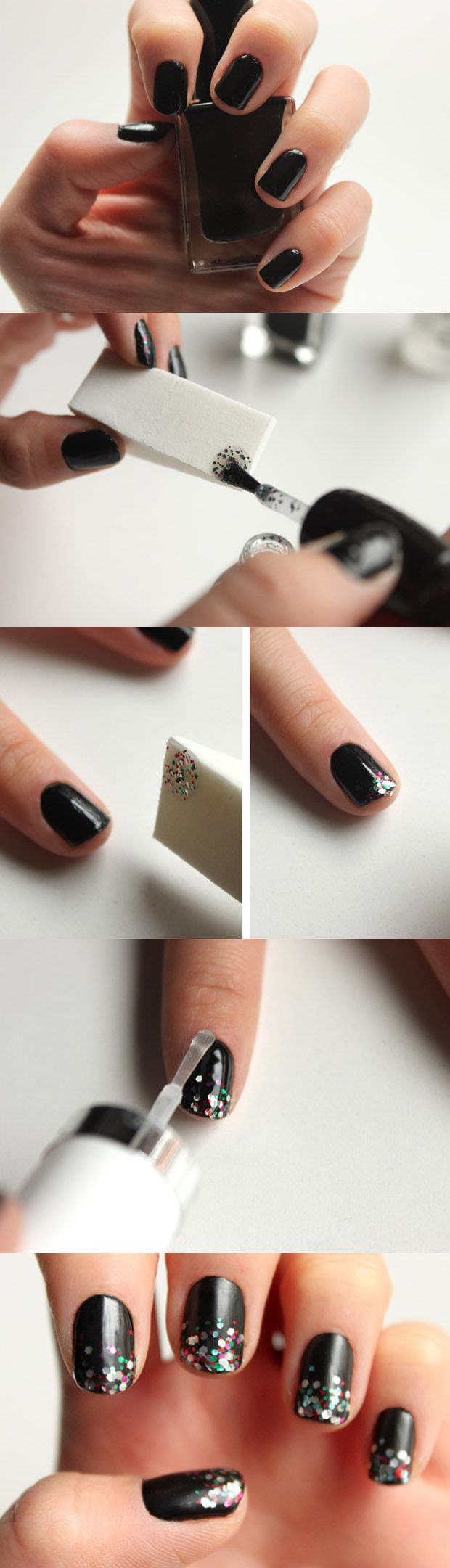 Fotos de moda | Uñas negras con brillos | http://fotos.soymoda.net