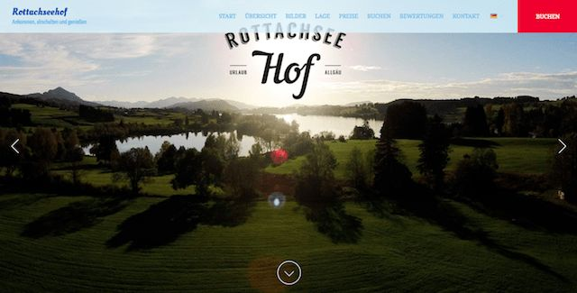 Rottachseehof - Modern typography and contrasting red call-to-action buttons help set the tone for a contemporary yet rustic lakeside retreat at Rottachseehof.    #vacationrentalwebsites #vacationrentals #webdesign #website
