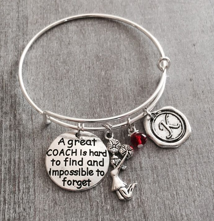 A great coach is hard to find and impossible to forget, Number 1 Coach Gift, Personalized Coach Bracelet, Gift for Coach, Cheer Coach, Gifts by SAjolie, $22.75 USD