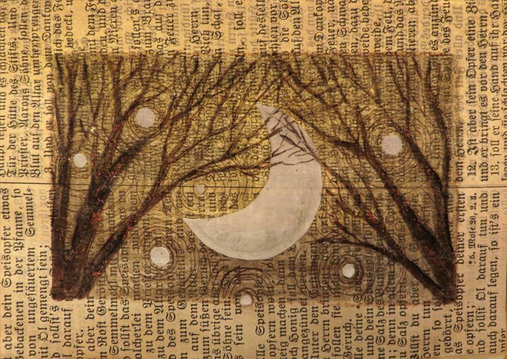 Untitled Crescent Moon.  Mixed media collage/drawing, December, 2013