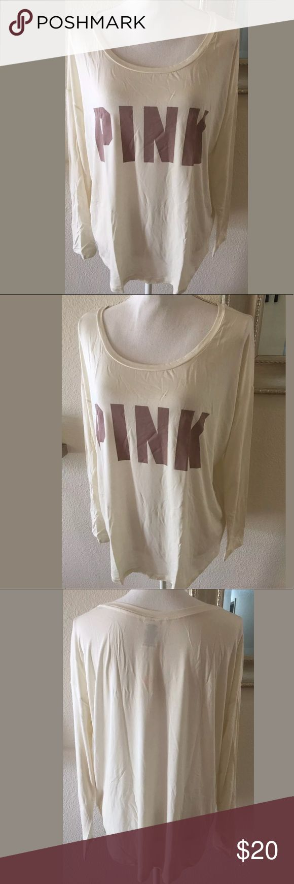 Victoria's Secret PINK Supersoft Long Sleeve Logo Victoria's Secret PINK Supersoft Long Sleeve Logo Top Size L Cream Off White  Beige  Slouchy fit   Measurements Approximate Armpit to armpit 28 inches  Shoulder to bottom 29 inches PINK Victoria's Secret Tops Tees - Long Sleeve