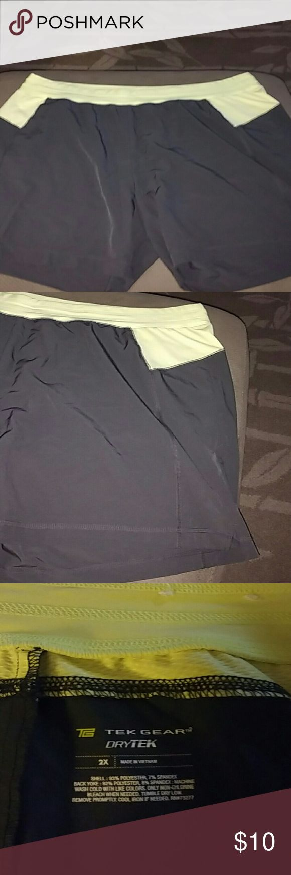 Tek Gear DryTek Work Out Shorts sz2X Gray and Yellow Tek Gear Work Out Shorts. Perfect Condition -- Sz 2X. Comfy and Cool, great for jogging or working around the house. I wore them to a theme park for the day. Worked out perfectly!! tek gear Shorts