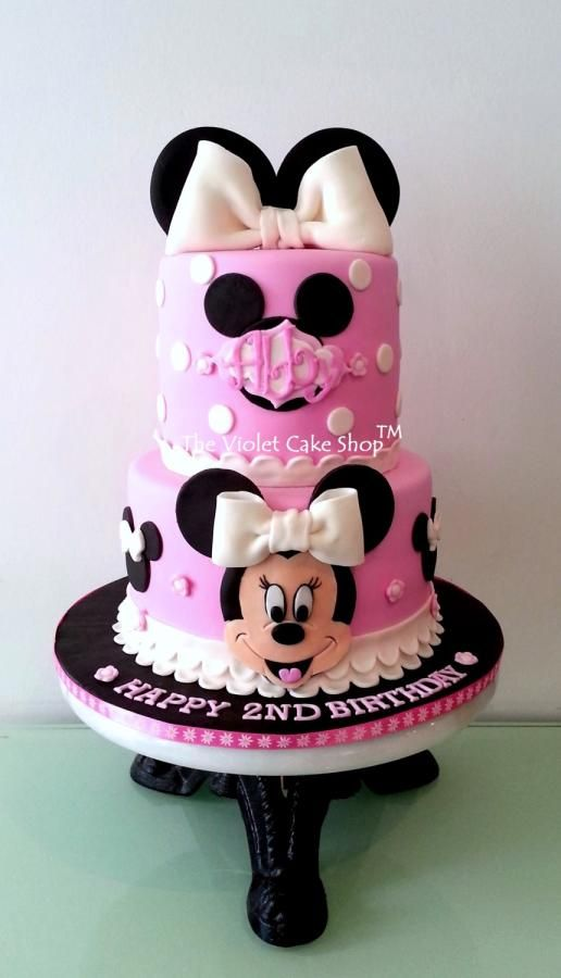 MINNIE Dress Cake with 2D Minnie Face & Ears - by The Violet Cake Shop - http://cakesdecor.com/cakes/119219-minnie-dress-cake-with-2d-minnie-face-ears; https://www.facebook.com/pages/The-Violet-Cake-Shop/95259702360