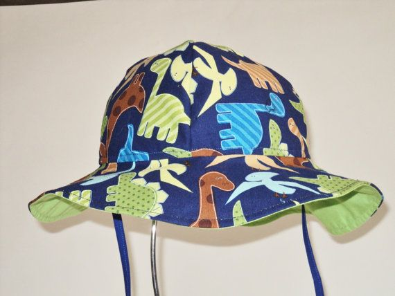 BABY BOY Sun Hat - Dinosaur Toddler Sun Hat - Made to Order in Size Newborn to 7Years - Infant SunHat