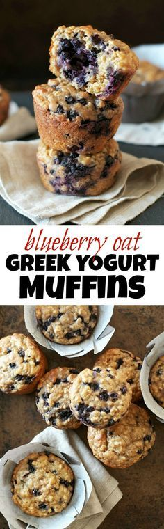 You won't find any butter or oil in these ridiculously soft and tender Blueberry Oat Greek Yogurt Muffins! What you will find is plenty of naturally sweetened, blueberry goodness in each bite! | runningwithspoons.com #healthy #muffins #breakfast #snack