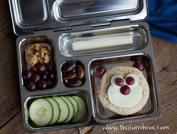 Today's Berenstain Bear lunch includes: ham/cheese sandwich, grapes, dark chocolate almonds, string cheese, cucumbers, chia seed cookies(I replaced the brown sugar with 1/2 c. of Wholesome Sweetener Erythritol which is a natural, plant based sweetener) packed in a Planet Lunch Box