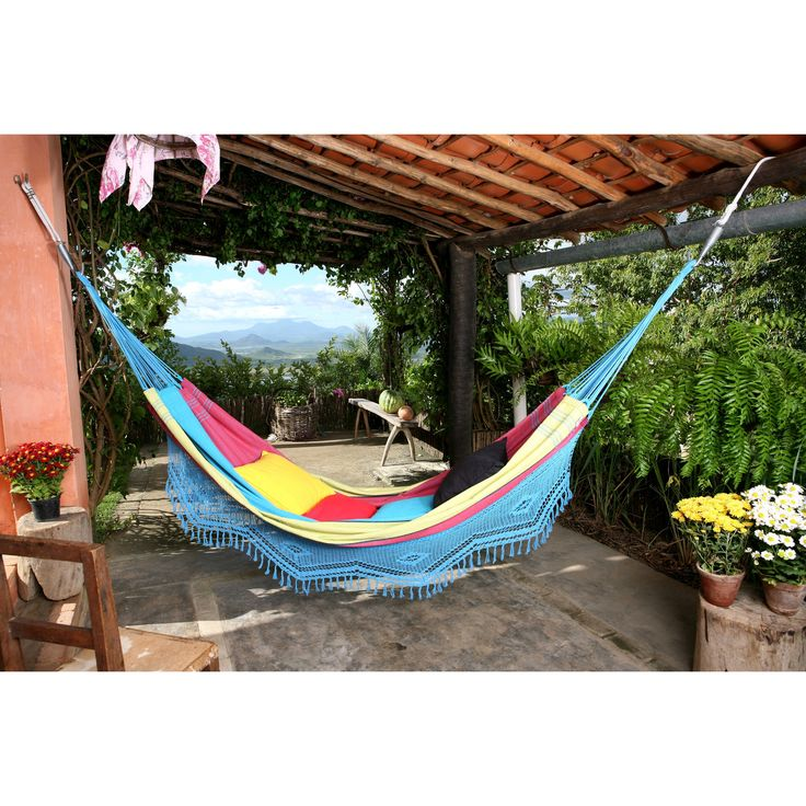 Have to have it. Large Aqua Marina Stripe Hand Woven Brazilian Hammock with Fringe $69.00