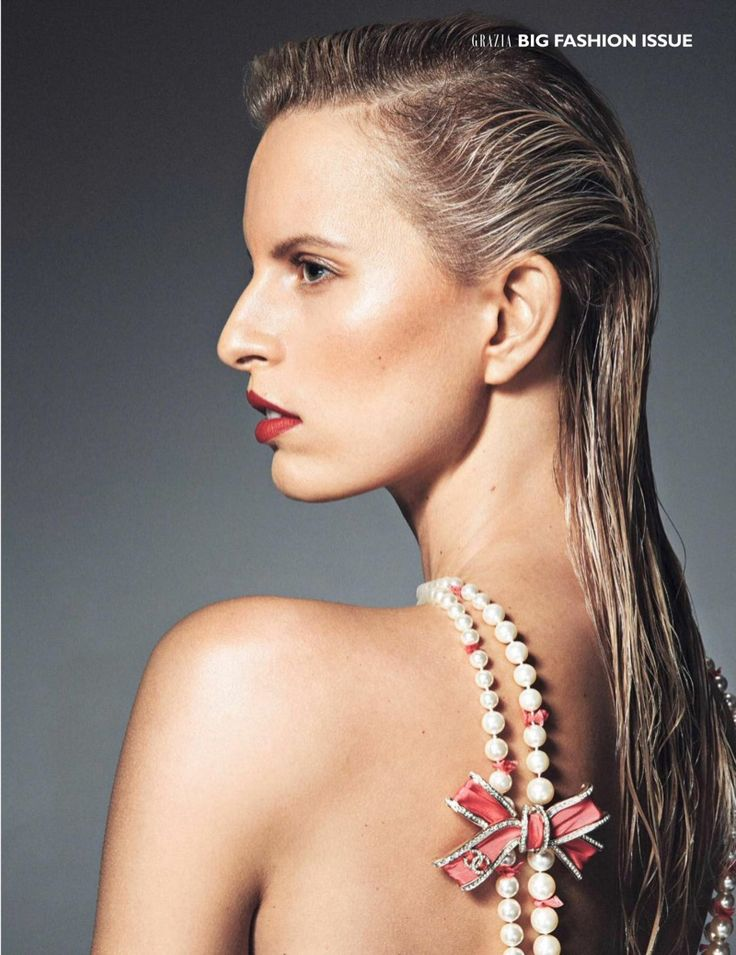 Karolina Kurkova wears slick hairstyle with Chanel pearl necklace for Grazia Magazine UK September 2016