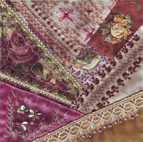 I ❤ crazy quilting . . . Block for Emiko. by Margreet from Holland