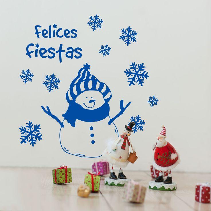 """Vinilo Decorativo Navidad - Muñeco de Nieve """"Felices Fiestas"""". Encuéntralo en www.pick2stick.com desde 24,40€"""