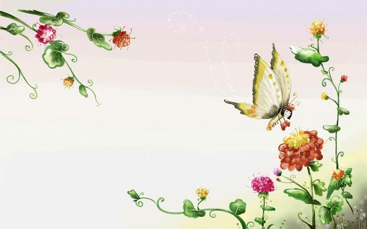 Vector Butterfly on flowers WallPaper HD - http://imashon.com/vector/vector-butterfly-on-flowers-wallpaper-hd.html