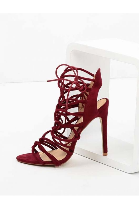 Shane - lace up heels bordo suede