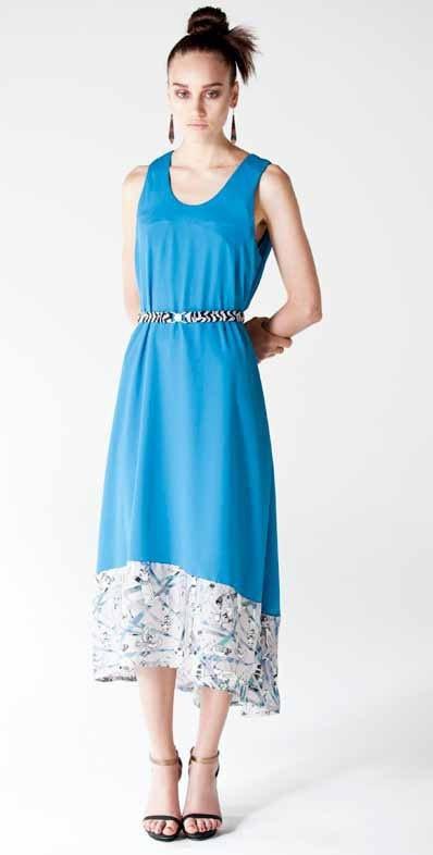 Scarab trim dress in aqua marine blue by Limedrop.
