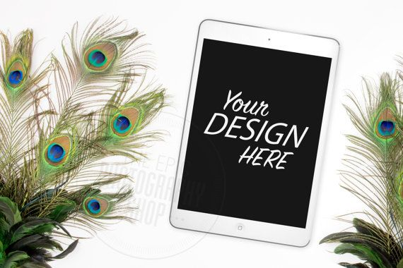 Styled Tablet Background / Stock Photography / Website / Web Design / Mobile / Tablet / ipad / Peacock / T002