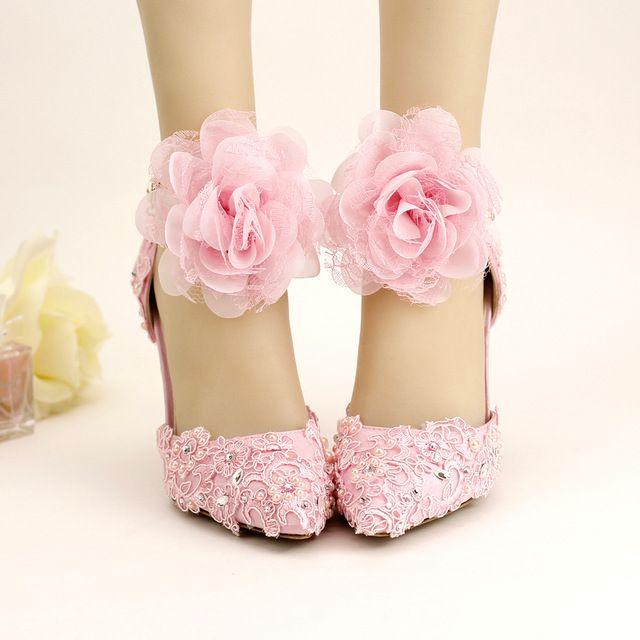 2016 Novo Verão Rosa Branca Do Laço Frisado Strass Sapatos De Salto Alto Sapatos de Casamento Sapatos de Noiva com Flores Doces Pulseiras Dois-peças