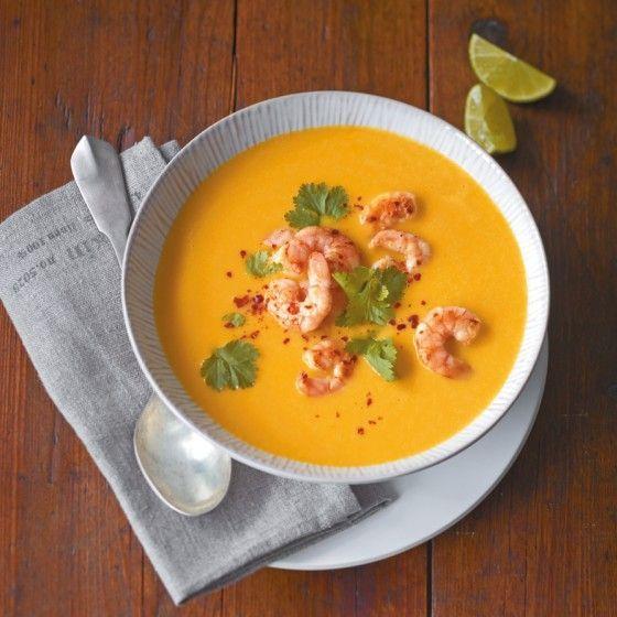 Kürbis-Kokos-Suppe mit Garnelen