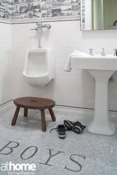 YES!!!!At Home in Fairfield County: Whimsical boy's bathroom with urinal!!!!