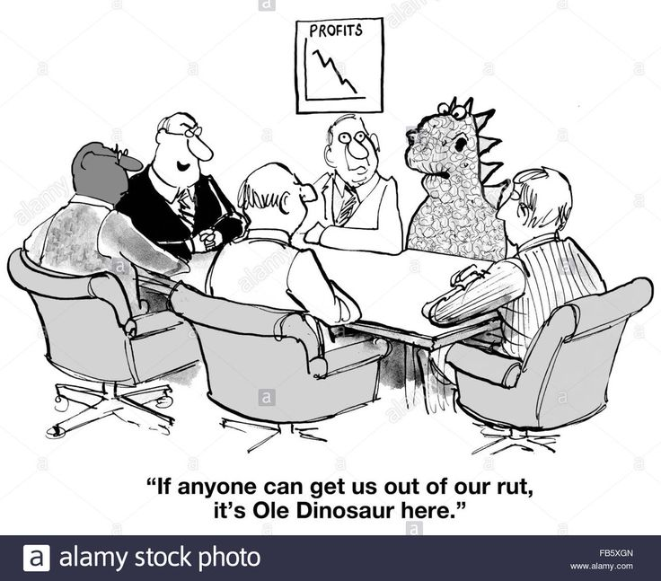 Download this stock image: Business cartoon about change management.  Profits are plummeting, surely Ole Dinosaur can help. - FB5XGN from Alamy's library of millions of high resolution stock photos, illustrations and vectors.