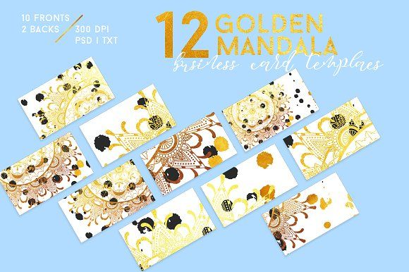 12 golden mandala business cards, designed to raise you above your competition from the start. They fit in a variety of fields like product photography, graphic design, personal branding, decor, fashion, lifestyle and oh my, so much more...