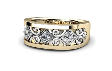 Lovely diamond filigree anniversary ring in white and yellow gold, by T & T Jewellers
