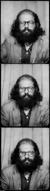 Allen Ginsberg, photobooth shot, San Francisco, 1963