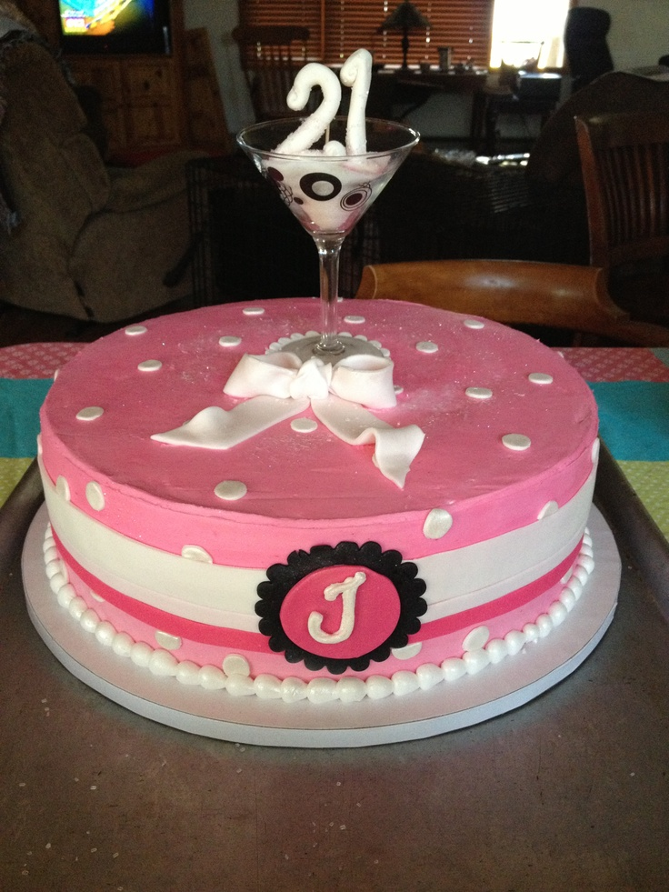 Love This Idea Round Cake With A Martini Glass On Top