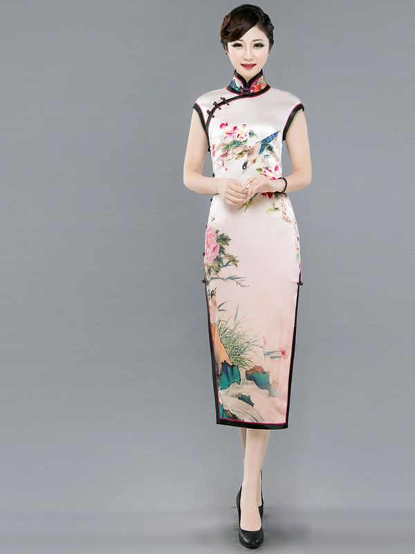 Pink champagne watercolor floral heavy silk qipao traditional Chinese sheath dress ZB7010-972-001