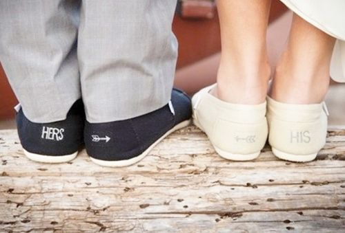 Love this...TOMS with His/Hers on them for the wedding day :)