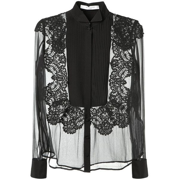 Givenchy Black Silk And Lace Transparent Black Top (£1,320) ❤ liked on Polyvore featuring tops, blouses, shirts, givenchy, blusas, long sleeve lace shirt, collared shirt, long sleeve collar shirt, fold long sleeve shirt and long sleeve shirts