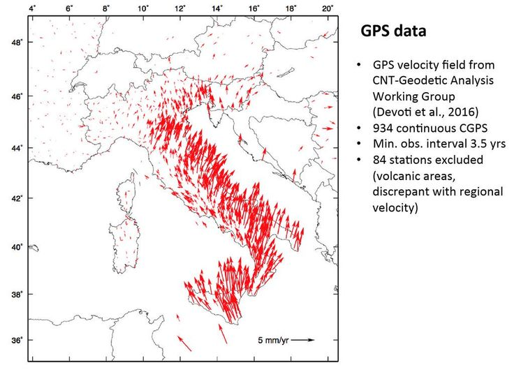Why Italy shakes. GPS data of @INGVterremoti show how the country is moving loading the crust causing earthquakes.