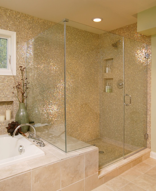 Gallery For Photographers  All Time Popular Bathroom Design Ideas I love how the glass in the shower extends over the tub tile to create a bench