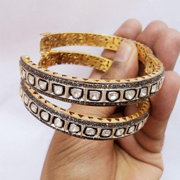 Diamond Silver Polki Wedding Bracelet