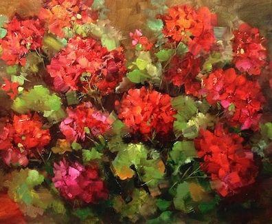 Barefoot Garden Geraniums by Nancy Medina Oil ~ 16 x 20