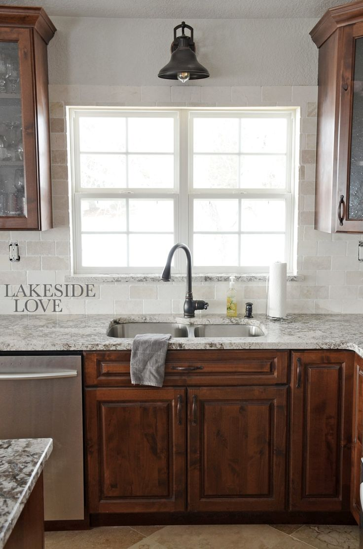 Backsplash marble rustic alder kitchen lakeside love for Cheap rustic kitchen cabinets