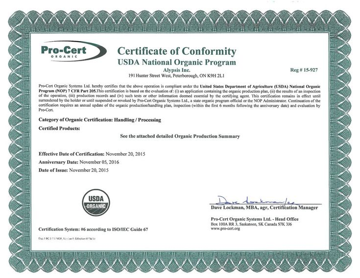 USDA Certified Organic Certificate