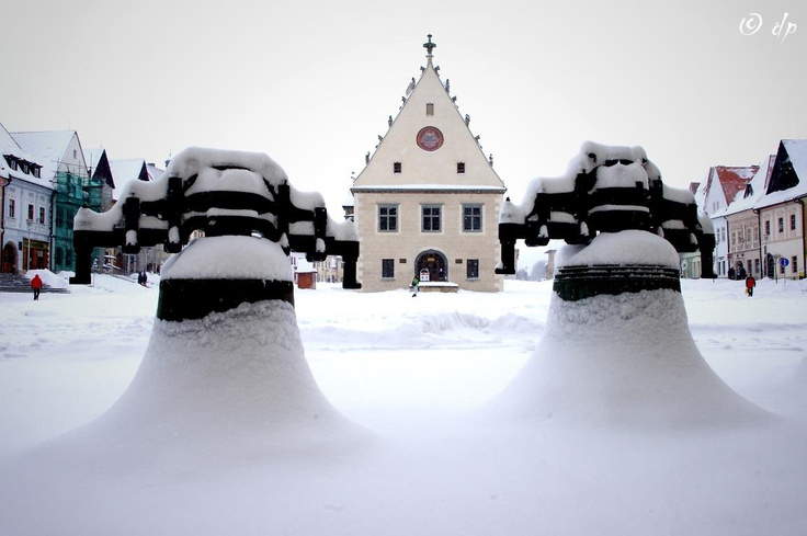 Bardejov, Old church bells covered with snow.