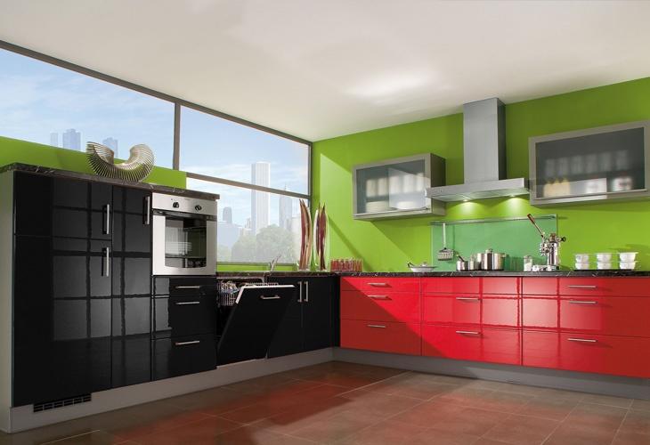 Küche in Schwarz und Rot Eckküche kuechen
